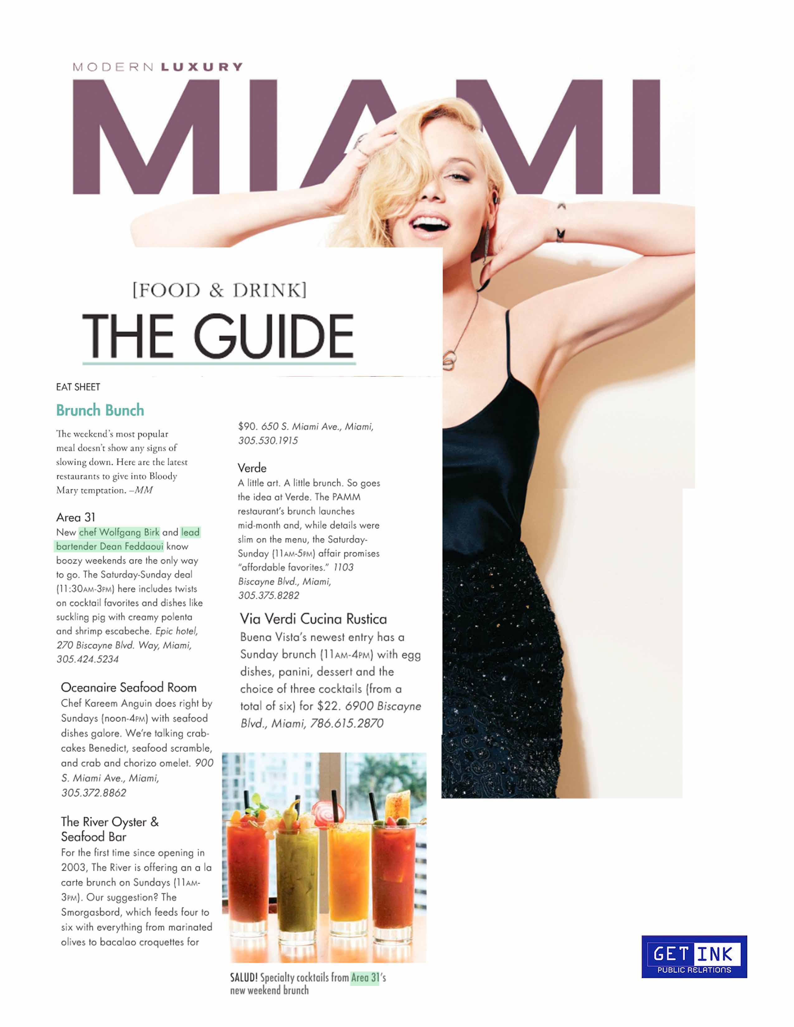 Miami Magazine feature on Area 31 in Miami