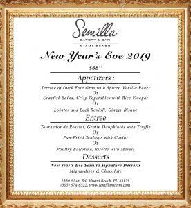 Semilla NYE Menu 2018